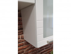 White/Light Grey Kitchen Corner Wall Cabinet with Door 60cm Unit Cupboard - Paula