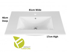 Industrial Oak/Black Metal Bathroom Set Tall Storage Unit 80cm Vanity Cabinet Ceramic Sink - Brooklyn (BROOKLYN_821_WHITE_SET)