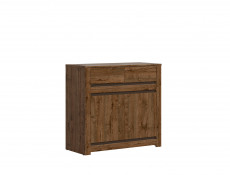 Classic Narrow Sideboard Dresser Cabinet Unit with 2 Drawers Dark Oak/Grey - Kada