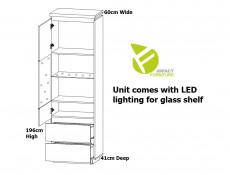 Modern White Gloss / Oak Effect Finish Tall Glass Display Cabinet Soft Close Unit with Drawers and LEDs - Erla (S426-REG1W2S-BI/DMV/BIP-KPL01+LED_OPJCA)
