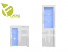 Modern White High Gloss Display Cabinet Set with Blue LED Lights: Tall & Compact Bookcases with Glass Shelving - Lily