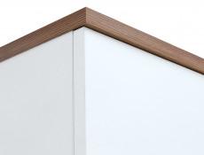 Scandi White Gloss/Walnut finish 2-Door Double Wardrobe Tall Storage Cabinet Unit Rail Shelf Wooden Legs - Heda