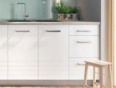 Free Standing White/Light Grey Kitchen Sink Cabinet Cupboard Unit 80cm - Paula