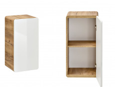 Modern White Gloss / Oak Small Wall Mounted Bathroom Cabinet Storage 1 Door Unit - Aruba