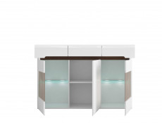 White Gloss Glass Sideboard Dresser Display Cabinet LED Lights with White/Wenge/Black Gloss insert - Azteca Trio
