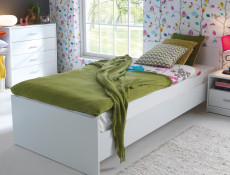 Children's Single Bed Frame in Wenge, White or Sonoma Oak Finish with Wooden Slats - Nepo (S435-LOZ/90-BI-KPL01+D15-WKL90/L21-BK)