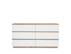 Large Chest of 6 Drawers Sideboard in Oak / White - Braga (S348-KOM6S/DRI/BI)