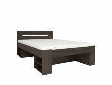 Storage Double Bed Frame in Wenge Dark Wood Finish with Wooden Slats- Nepo (S435-LOZ3S-WE-KPL01)