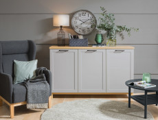 Large Scandinavian Sideboard Dresser Cabinet in Grey & Oak - Haga