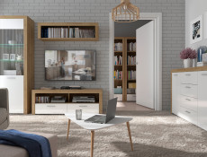 Modern Living Room Sideboard 4-Door Cabinet Storage Unit Oak/White Gloss - Balder (S382-KOM4D-DRI/BIP-KPL01)