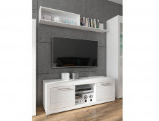 Modern White Gloss Wall Mounted Shelf Display Storage 163.5cm  - Flames (S428-POL160-BIP-KPL01)
