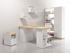 Modern Home Office Study 5 Piece Furniture Set Wall Shelving Mobile Unit Desk White Gloss/Oak Finish – Denton (DENTON-OFFICE2)
