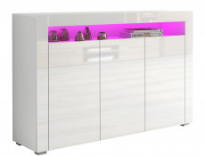 White High Gloss Sideboard Modern Unit Display Cabinet RGB LED Light - Lily