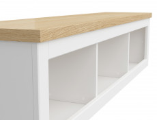 Scandinavian Wall Mounted Display Cabinet Storage Unit 150 cm Panel Shelf White/Oak - Haga (S369-SFW/150-BIM/BIC-KPL01)