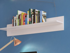White Gloss Modern 105 cm Wall Mounted Floating Small Display Shelf Panel - Azteca Trio