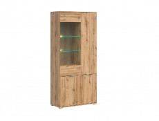 Modern Oak Effect Finish Wide Tall Glass Fronted Display Cabinet Storage 2 Door Unit with LED Light - Zele