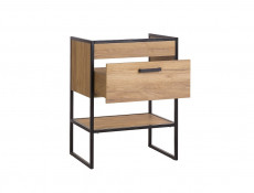 Modern Industrial Oak & Black Vanity Bathroom Cabinet Drawer Sink Loft Unit Free Standing 60cm - Brooklyn