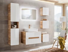 Modern White Gloss / Oak Small Wall Mounted Bathroom Square Cabinet Storage Unit- Aruba