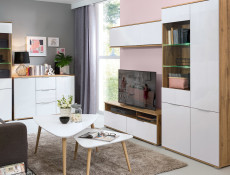 Modern Living Room Furniture Set White Gloss / Oak finish TV Cabinet Sideboard Display Wall Unit - Zele