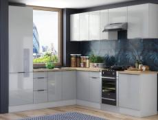 Light Dove Grey Gloss Kitchen Units Corner Set of 11 Cabinets with 60cm Larder Cupboard  - Luna