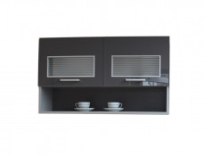 Free Standing White/Grey Gloss Kitchen Glass Wall Cabinet 100cm- Modern Luxe (STO-MODERN_LUX-WS100-PDGR/58-GREY-KP01)