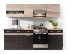 Free Standing Dark Oak/Light Oak Kitchen Cabinets Cupboards Set 7 Units - Junona