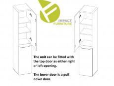 Modern White Gloss / Oak Tall Wall Bathroom Cabinet Storage Unit with Laundry Basket Hamper - Aruba (ARUBA_804)