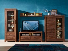 Wide Glass Display Cabinet Oak effect with LED Lights - Gent (REG1W1D2S/16/12)