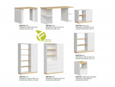 Modern Home Office Study 3 Piece Furniture Set Shelving Desk Cabinet White Gloss/Oak Finish – Denton (DENTON-OFFICE1)