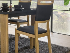Modern Dining Chair in Black Fabric Solid Wood Frame & Oak Wood Veneer Finish - Arosa