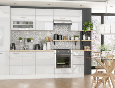 Modern White High Gloss Kitchen Cabinets Cupboards Set of 9 Units with Oven Housing and Larder 300cm - Rosi (STO-ROSI_SET-9_UNITS_3.0-BI-BIP)