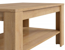 Modern Rectangular Coffee Table with Storage Shelf 110 cm Riviera Oak - Balder