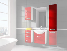 Tall Wall Mounted Bathroom Cabinet 1 Door Unit Red High Gloss  - Coral
