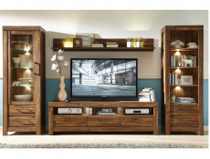 Modern 4-Piece Living Room Furniture Set Storage Display Bookcase Unit LED Lights Oak - Gent