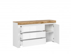 Modern Living Room 3-Piece Set Display Storage Units with LED Lights White Gloss/Oak - Holten (S397-HOLTEN_LIV_SET_2)