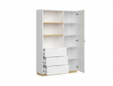 Modern Large Storage Bookcase Shelving Unit with Drawers 180 cm White Gloss/Oak Finish – Denton (S416-REG1D3S-DP/BIP-KPL01)