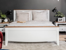 Classic Wood King Size Bed Frame with Headboard & Footboard White Gloss/Acacia - Kalio