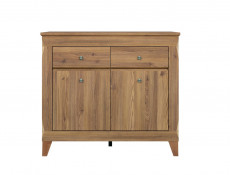 Traditional Light Oak Narrow Sideboard Cabinet Chest of 2 Drawers Living Room Dresser - Bergen