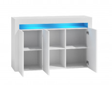 White High Gloss Sideboard Modern Unit Display Cabinet with blue LED Light – Cheri (KOM3D+LEDBlu10yr)