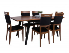 Retro Dining Room Rectangular Extending Dining Table 200cm Black/Brown Oak - Madison