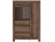 Modern Wide Glass Display Sideboard Cabinet Showcase Storage 3 Door Unit LED Light Oak - Balin