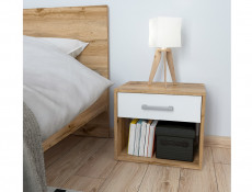 Modern Bedside Cabinet Side Table 1 Drawer 45cm White Matt/Oak finish - Matos