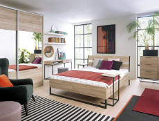 Industrial King Size Bed Frame Metal Legs & Wooden Bed Slats Built-up Headboard Oak - Gamla