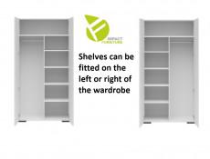 White Shelving Insert for Assen Double Wardrobe 4 x 37cm Shelves and 1 x 37cm Hanging Rail - Assen