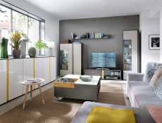 TV Cabinet Unit 143cm Grey Matt Modern Living Room LED Lights - Graphic (S343-RTV2S/142/C-SZW)