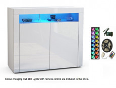 Square Small Sideboard Display Cabinet White High Gloss with RGB LED Light - Lily