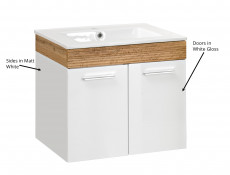 Wall Mounted Bathroom Furniture Set 500 Vanity Cabinet Sink Unit Tallboy White Gloss Oak finish - Aria