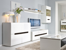 Modern White High Gloss Living Room Furniture Set Sideboard Glass Display Cabinet Wall Shelf TV Unit - Azteca Trio