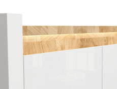 Modern White Gloss Sideboard Storage Cabinet with Drawers LED Lights & Oak finish top - Alameda (S420-KOM1D3S-BIP/DWM/BIP)