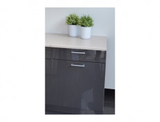 Free Standing White/Grey Gloss Kitchen Cabinet Base Unit 60cm - Modern Luxe